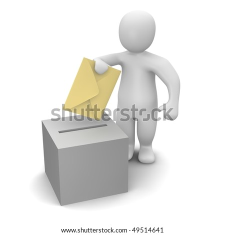Man sending letter or vote concept.