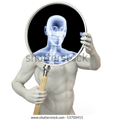 man shines his legs x-rays through a magnifying glass.