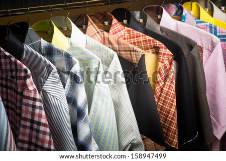 man shirts. man shirts on hangers