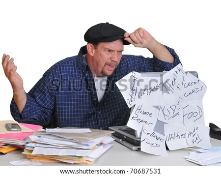 Man shocked and in disbelief at what he sees in his financial report online. - stock photo
