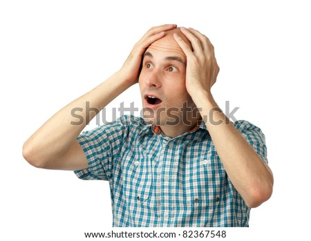 man shocked isolated on white