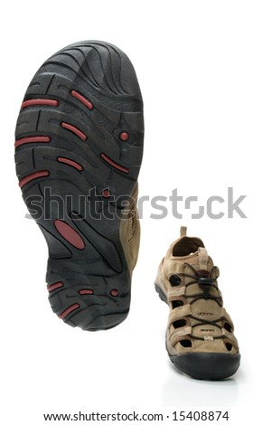 Man shoes walking themselves, isolated, on white background