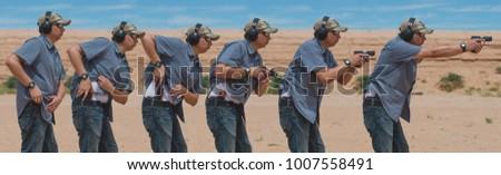 Man shooting gun on range in desert sequence