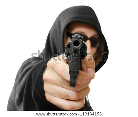 man  shoots a gun, gangster, focus on the gun, isolated on white