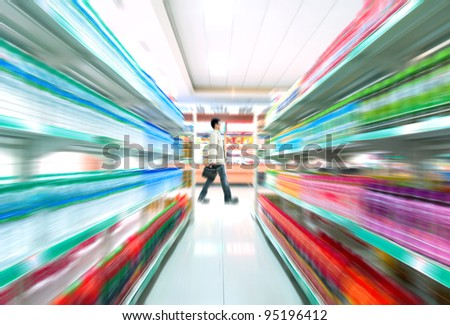 Man shopping in the supermarket