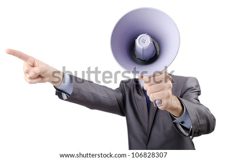 Man shouting and yelling with loudspeaker