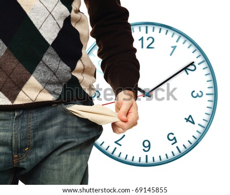 man show empty pocket and classic watch isolated on white background
