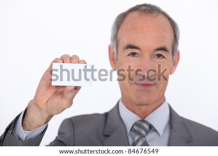 Man showing businesscard