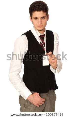 man showing his badge at the entrance of meeting room of a conference