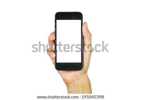 man showing smart phone with isolated screen in hand. Isolated on white. #195045398