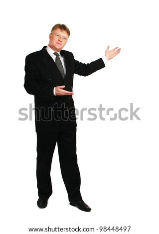 Man showing something on his hand , isolated on white background