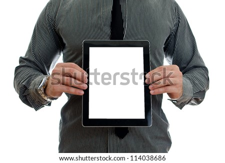 Man showing touch screen tablet pc with blank screen. Isolated on white