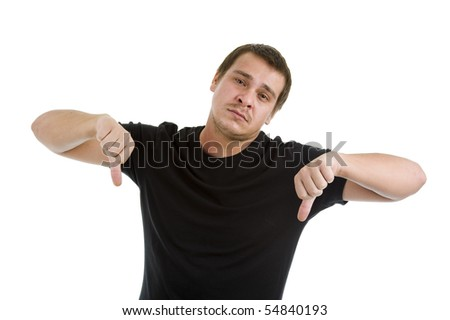 man showing two thumbs down, isolated on white background