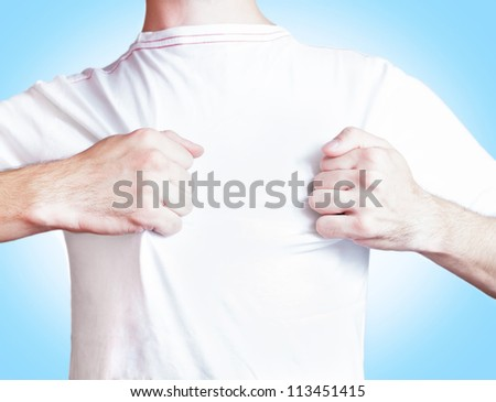 man showing white t shirt