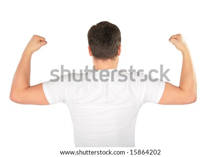 man shows biceps from back