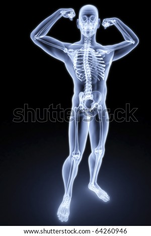 man shows biceps under the X-rays.