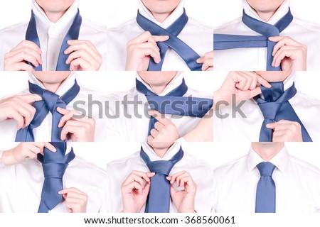 Man Shows How to Tie Necktie with Half Windsor Knot, Tutorial