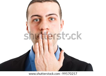Man shutting his mouth - stock photo