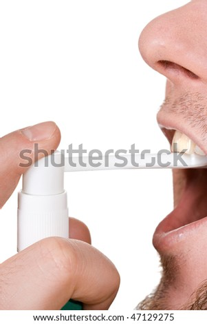 man sick on white background