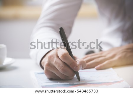 Man signing contract. Close up. Deal concept