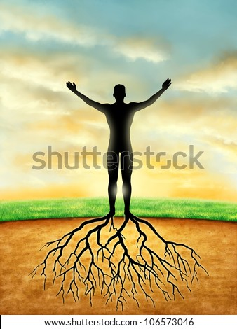 Man silhouette connects to the Earth with some roots developing from its legs. Digital illustration.