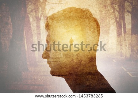 Man silhouette on gothic landscape background. Psychiatry, psychology,  concept, gothic, steampunk background #1453783265