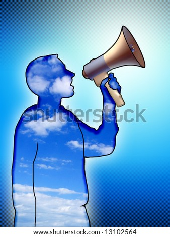 Man silhouette using a megaphone. Digital illustration.