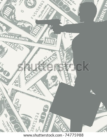 man silhouette with gun and money (also available vector version)