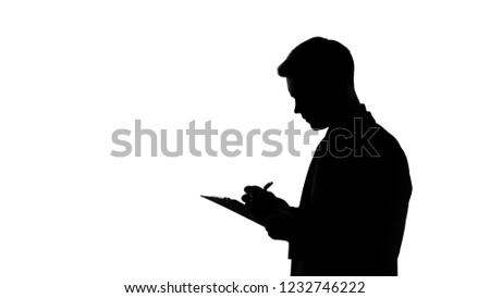 Man silhouette writing answers into questionnaire sheet, statistical surveys #1232746222