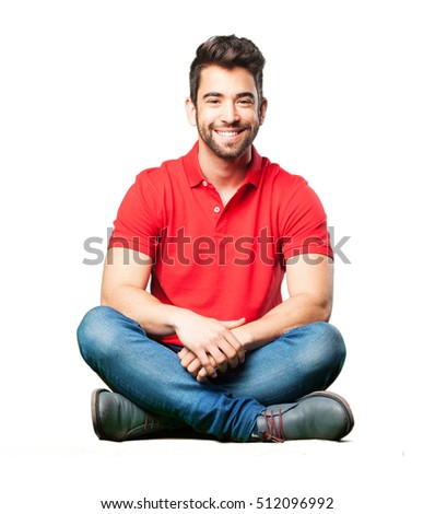 man sitting smiling #512096992