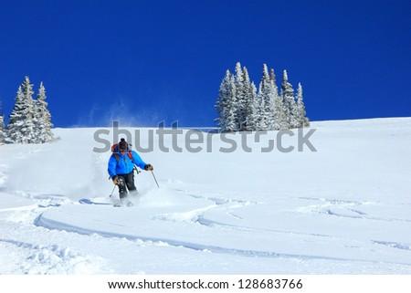 Man skiing powder snow on a bluebird day in the Utah mountains, USA. - stock photo
