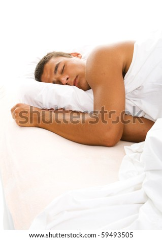 Man sleep in bed