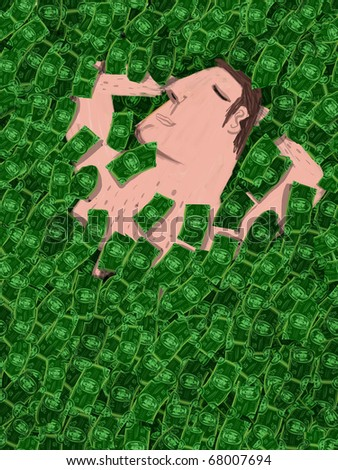Man sleeps covered with a heap of bills - stock photo