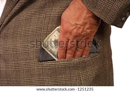 Man slips twenty into pocket