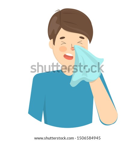 Man sneeze. Ill guy in a fever. Flu or cold symptom. Idea of illness and healthcare. Flat  illustration