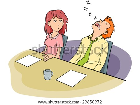 Man snoozing at a conference table while a woman coworker stares.