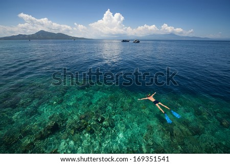 Man snorkeling in a tropical sea by reef's drop off. Indonesia #169351541