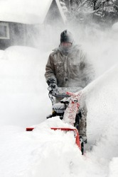 Man snow blowing