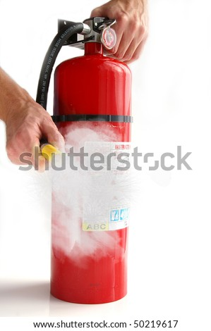 man spraying a fire extinguisher, on white
