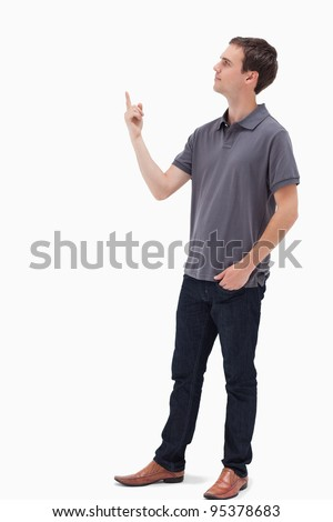 Man standing and presenting something above against white background
