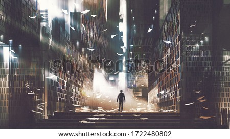 man standing in a mysterious library, digital art style, illustration painting