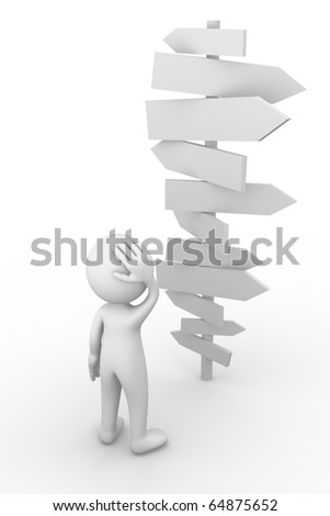 Man standing in front of a chaotic roadsigns - stock photo