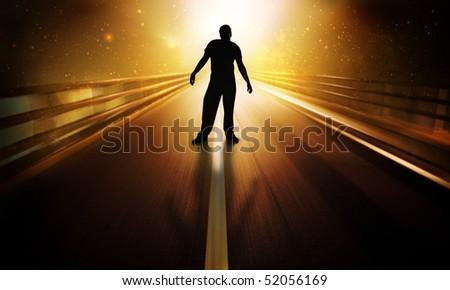 Man standing in futuristic scene