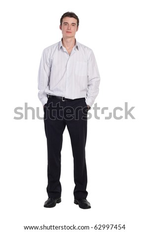 man standing in shirt and pants isolated. More images of this models you can find in my portfolio