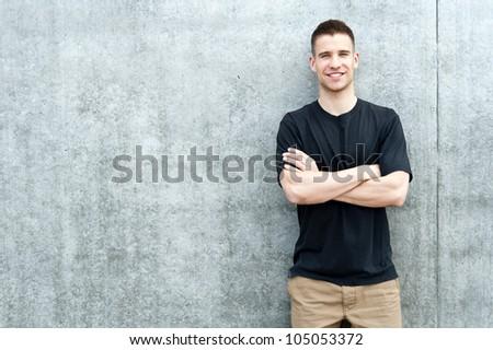 man standing near the wall