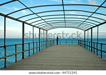 Man standing on pier and looking on sea