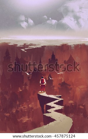 man standing on rock path looking at the buried city,illustration painting