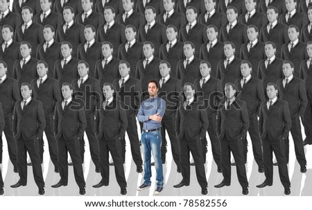 Man standing out in a crowd