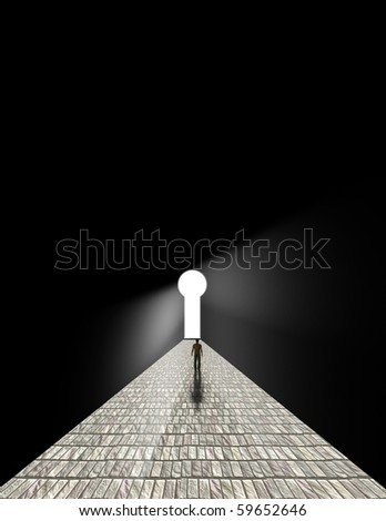Man stands before keyhole