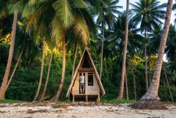 Man stands in doorway of hut and holds coconut in his hands. Jungle wildlife in Port Barton, Philippines